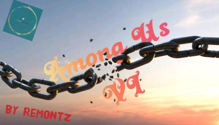 Among Us VI graphic: features a broken chain amid the backdrop of a sunsetting sky -- with the title Among Us interposed against the chain.  The stories by dude logo is in upper left corner